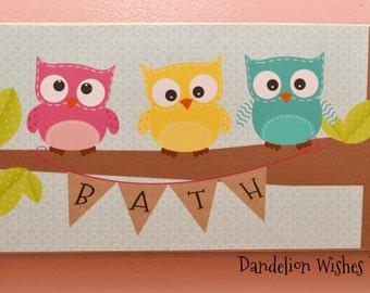 BATH Owls with Burlap Bath Bunting, Measures 8x18 inches, Bright Colored Bathroom Decor,