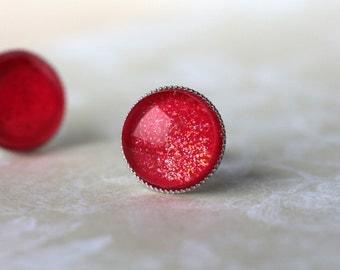 Cherry Red Post Earrings - Red Shimmer Post Earrings - Red Stud Earrings - Small Post Earrings, Round Shiny Stud Earrings