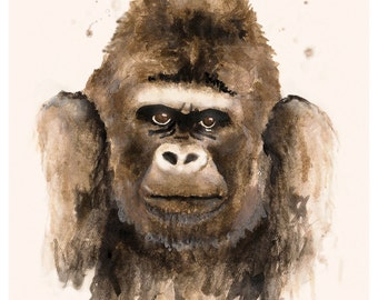 High quality art print: A portrait of a silver back gorilla, handmade watercolor painting. 8 x 10 inches.