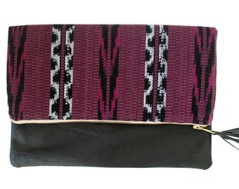 Mara Plum Ikat and Leather Clutch