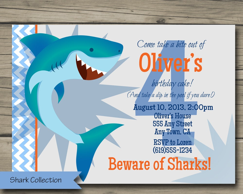 Shark Bite Birthday Party Invitation Printable Shark Birthday