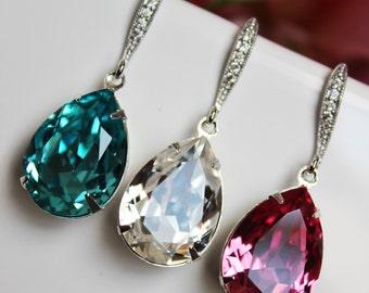 Swarovski Crystal Drop Wedding Earrings, Turquoise Crystal Clear Rose Pink Bridal Earrings, Bridesmaid Earrings, Bridal Accessories