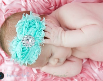 AQUA BLUE flower headband, baby headband, shabby chic headband, girls headband, newborn headband, turquoise and silver headband.