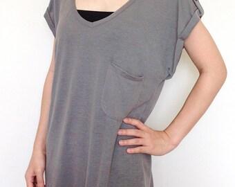SC004: Light Gray Women Blouse, Women T Shirt, Wide Sleeve Top, Oversized Top, V Neck Tee, Lady Tshirt, Casual Chic Wide Sleeve Women Top