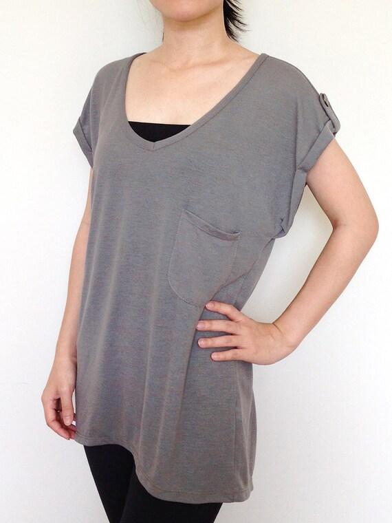 Sc004 Light Gray Women Blouse Women T Shirt Wide Sleeve