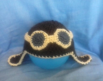 Aviator Baby Hat with Round Goggles