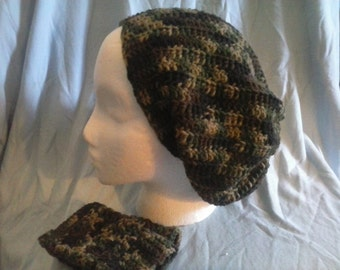 Camo Slouchy Beanie and Fingerless Gloves