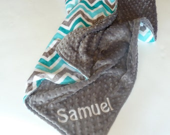 Personalized Chevron Baby Blanket -  Baby Girl or Boy Lovey or Stroller blanket - Custom Made - You Choose Back Minky Color - Teal, gray