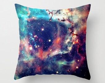 Galaxy Throw Pillow Cover. 16x16 pillow. 18x18 pillow. 20x20 pillow. Pillow Case. Navy Galaxy Print Throw Pillow.