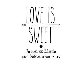 "CUSTOM LOVE is Sweet stamp - wedding stamp, card stamp, invitation stamp, love stamp, gift tag stamp, stationary, 1.5""x2"" (cts29)"