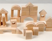 Wooden Play Blocks - Wooden Blocks - Montessori Building Blocks - 34 pieces - Eco-Friendly Blocks