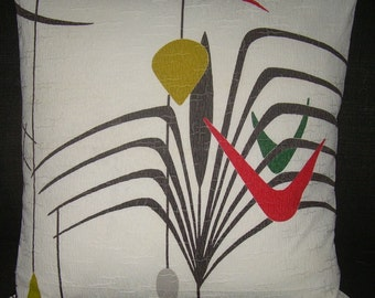 "Mid Century Modern Pillow Cover Atomic 1950's Barkcloth ""Space Trip II"" Last 1  Mad Men"
