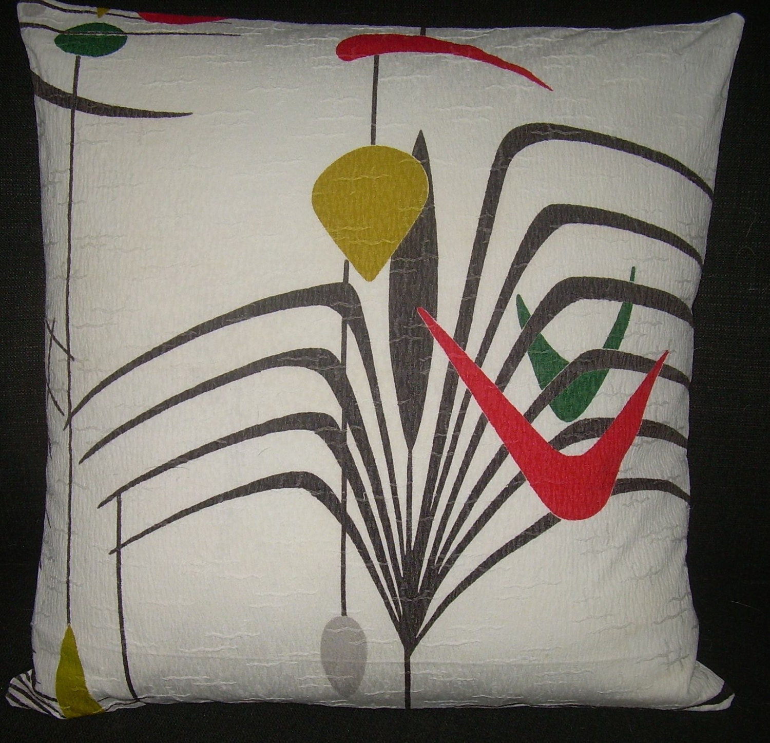 Mid Century Modern Pillow Cover Atomic 1950 s Barkcloth