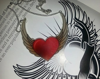 Tattoo Winged Heart Necklace