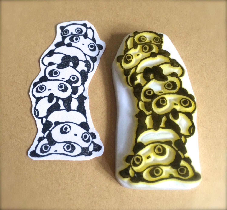 Tarepanda jenga たれぱんだ hand carved rubber stamps panda