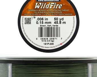 """Wildfire .006"""" By Beadalon 50yds - Black, Frost or Green  (CD330X)"""