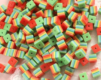 100 Pcs 8mm Rainbow Striped Cube Beads
