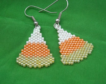 Halloween Candy Corn Beaded Dangle Earrings, Peyote Stitch, Delica Beads