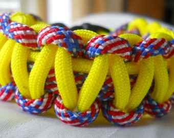 Neon Yellow and American Flag 7.5 Inch Paracord Bracelet Item #148