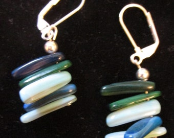 """Earrings 1-1/2""""long - Seabreeze blue green and white dyed shell sticks"""