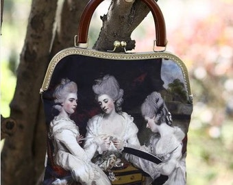 FineArt Collection Vintage style oil painting Marie Antoinette handbag clutch