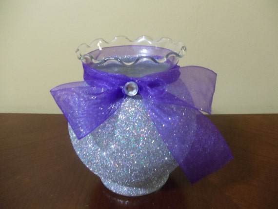 Items similar to silver glitter vase with purple ribbon
