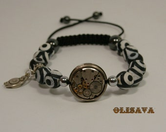 Mens  Steampunk bracelet of matte Agate  Beads and  watch movement , bracelet Shamballa , watch movement bracelet ,  Clockwork bracelet