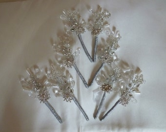 Boutonniere in silver with diamante snowflake and silver, white and clear crystals. Winter wedding. Christmas wedding. Buttonhole.