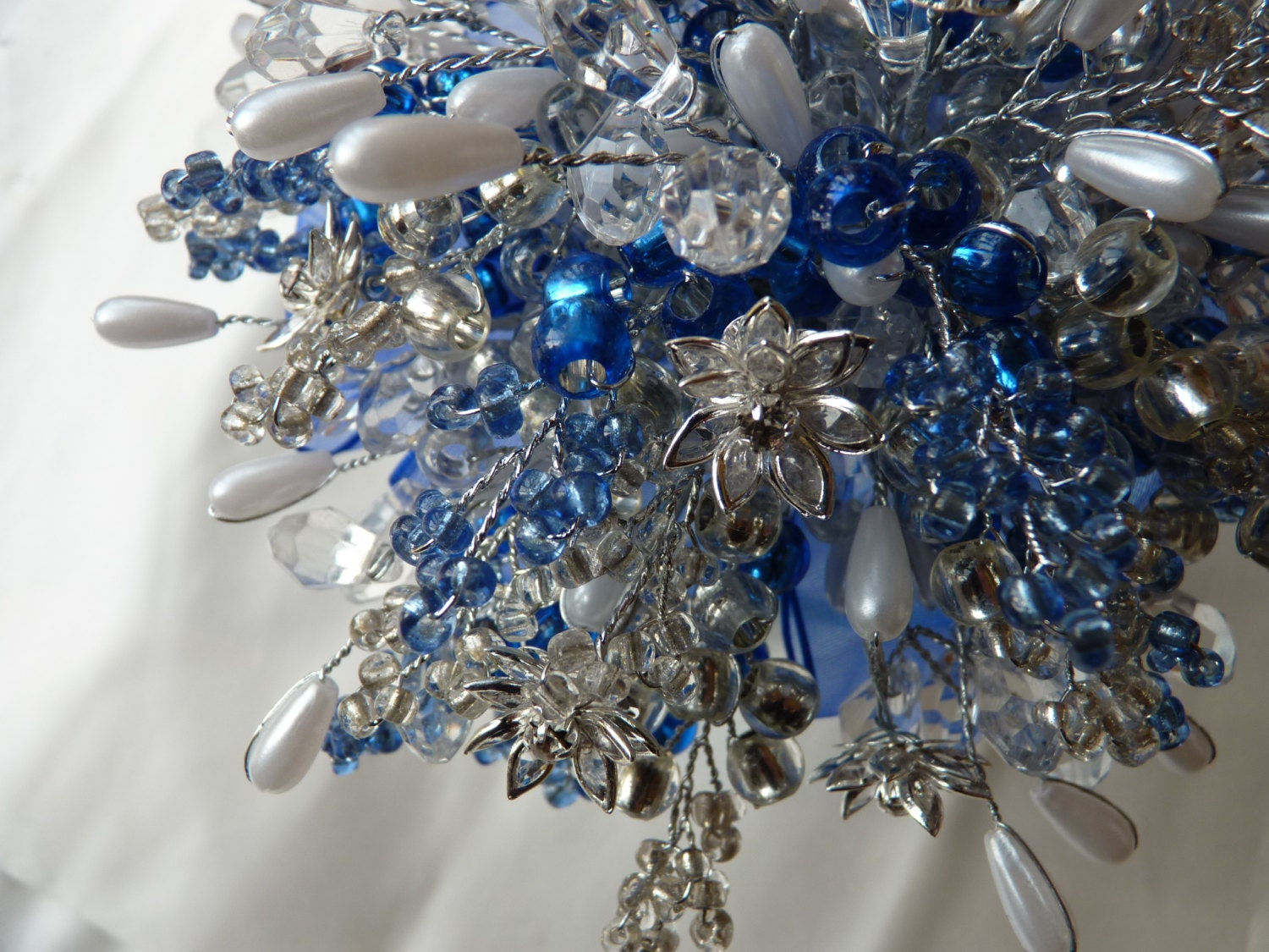 Wedding bouquet in royal blue and silver with crystal flowers ...