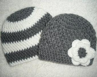 Twin baby gifts, crochet baby hats, boy girl twins, crochet baby hat, baby twin gifts, gray white stripe flower hospital hat, baby shower