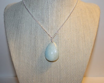 Necklace, Aqua Marine Stone Pendant , with Sterling Silver Wire Wrapping and  Sterling Silver  Lobster Claw Clasp