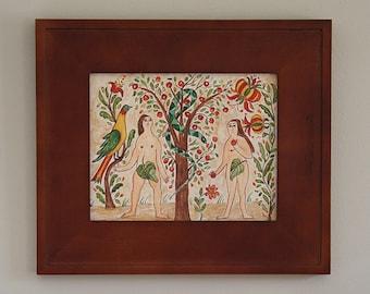 Folk Art ~Watercolor ~ Adam & Eve ~ Fraktur