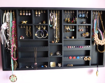 Black Jewelry Organizer display - large- gold/silver hooks-Earrings,necklaces,bracelets holder -Wall mounted - Handmade