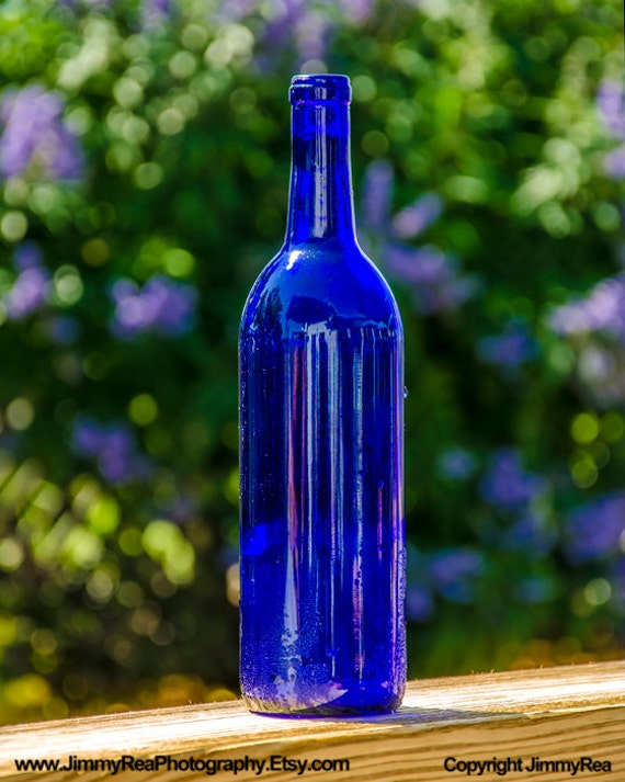 Cobalt Blue Bottle Picture Wall Decor Photograph Kitchen Art