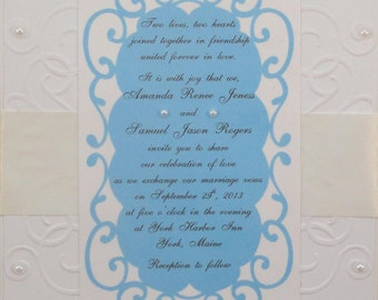 50 Blue Embossed and Embellished Invitations for Weddings or any Occasion Customized for You