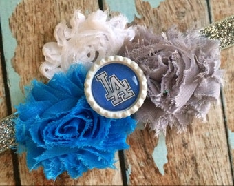 LA DODGERS Los Angeles MLB Baseball shabby flower headband Baby Little Girl Hair Bow - Photo Prop