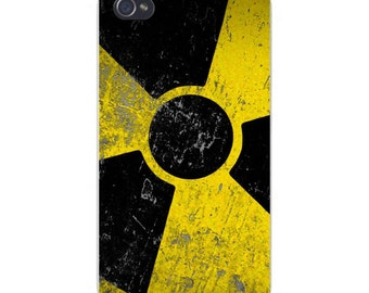 Apple iPhone Custom Case White Plastic Snap on - Nuclear Warning Radioactive 4949