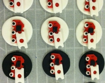 Edible Fire Truck Cupcake Toppers