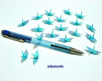 "100pcs Blue Color 1-inch Origami Cranes Hand-folded From 1""x1"" Square Paper. (AV paper series). #FC1-30."