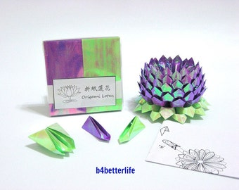 Pack Of 200 sheets Purple Color DIY Origami Lotus Paper Folding Kit for Making 2pcs of Medium Size Lotus. (AV Paper Series).