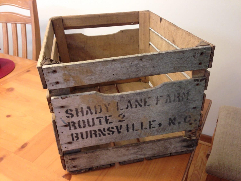 Vintage wooden north carolina apple crate box for Vintage apple boxes