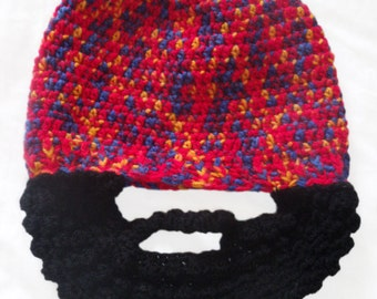 Handcrafted Crochet Beard Beanie Hat children and adults - all sizes available