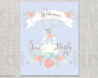 Floral Blooms Birds Tea Party Girl's 1st Birthday Welcome Party Sign | Custom Flowers First B'day Party Decoration DIY Printable PDF / JPG