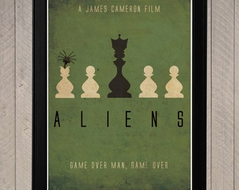 Aliens -  Minimalist Retro Poster, Movie Poster, Art Print