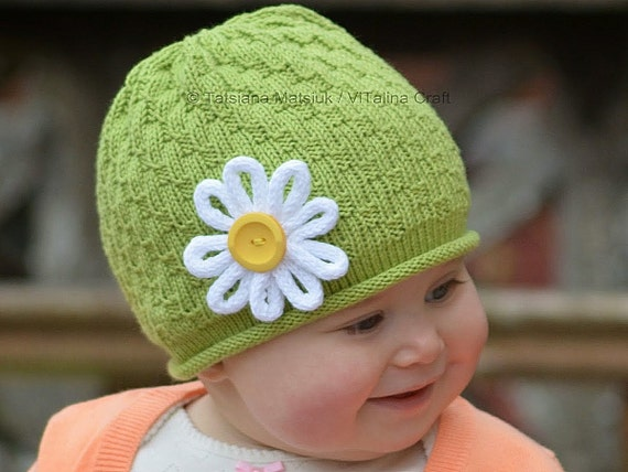 Knit Hat With Flower Pattern : Knitting Pattern My Daisy Flower Hat Baby Child and Adult