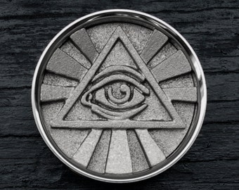 """Silver All Seeing Eye Plugs - Eye of Providence - 3D Printed Illuminati - 38mm 41mm 45mm 48mm 50mm 54mm 57mm 60mm 67mm 70mm - 1&1/2"""" to 3"""""""