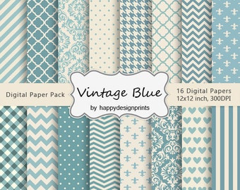 "Vintage Old Blue Patterns Digital Paper Pack of 16, 300dpi, 12""x12""Instant Download Paper Scrapbooking JPG"