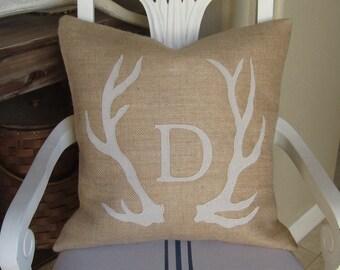 Burlap Antler Pillow cover Deer Antler Applique Autumn Fall Cabin Decor