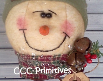 Snowman Nodder - Snowman on Rusty Spring - Handmade Snowman - Primitive Snowman