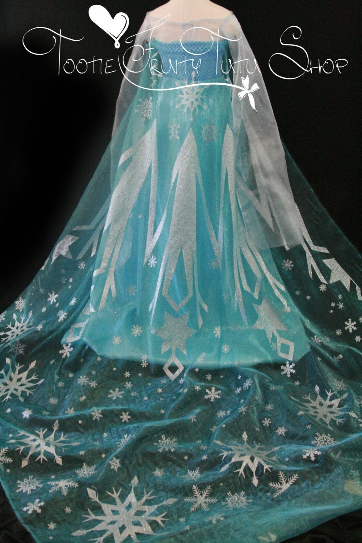 elsa cape fabric frozen silver glitter snowflake light blue